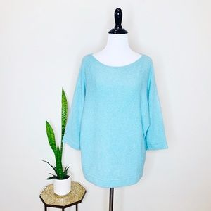 HALOGEN Blue Wool Blend Soft 3/4 Sleeve Sweater